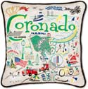 Handmade Embroidred Coronado Geography Pillow