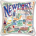 Handmade Embroidred Newport Geography Pillow