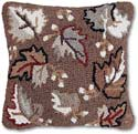 Handmade Fall Leaves Autumn Hooked Pillow