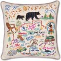 Handmade Geography Adirondacks Mountains Pillow