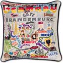 Handmade Germany Embroidered Geography Pillow