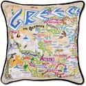 Handmade Greece Embroidered Country Pillow
