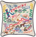 Handmade Kentucky Embroidered Geography Pillow