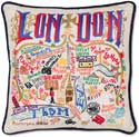 Handmade London England Embroidered Geography Pillow