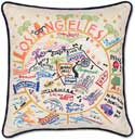 Handmade Los Angeles Embroidered Pillow