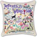 Handmade Martha's Vineyard Embroidered Pillow
