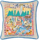 Handmade Miami Florida Embroidered Pillow