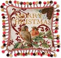 "Handmade Needlepoint Bird Christmas Pillow<br><font color=""red""><font size=""2""><b>LAST ONE</b></font></font>"