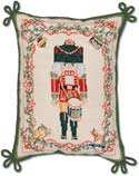 Handmade Needlepoint Nutcracker Decorative Christmas Pillow
