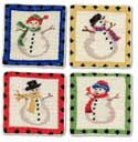 "Handmade Needlepoint Snowman Christmas Coasters<br><font color=""red""><font size=""2""><b>Last One!</b></font></font>"