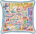 Handmade Palm Beach Florida Embroidered Pillow