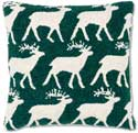 "Handmade Reindeer Hooked Christmas Throw Pillow<br><font color=""red""><font size=""2""><b>Only Three Left</b></font></font>"