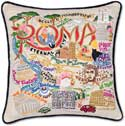 """Handmade Rome Roma Italy Embroidered Pillow<br><font color=""""red""""><font size=""""2""""><b>One Available</b></font></font>"""