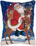 "Handmade Santa Claus Christmas Hooked Pillow<br><font color=""red""><font size=""2""><b>Only Three Left</b></font></font>"