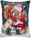 Handmade Santa Gifts Hooked Christmas Pillow