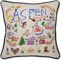 Handmade Ski Aspen Embroidered Pillow