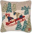 "Handmade Sledding Dogs Christmas Pillow<br><font color=""red""><font size=""2""><b>Only Three Left</b></font></font>"
