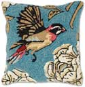 Handmade Songbird Hooked Pillow