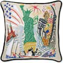 Handmade Statue Of Liberty Embroidered Pillow