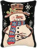 Happy Snowman Hooked Christmas Pillow