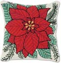 Handmade Holiday Flower Poinsettia Christmas Hooked Pillow