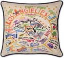 Los Angeles California Embroidered Pillow