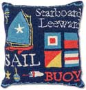 Nautical Sailboat Hooked Pillow