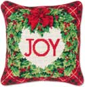 Needlepoint Wreath Christmas Pillow