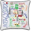 Handmade Embroidered New York Geography Pillow