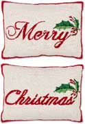 "Pair Handmade Merry Christmas Pillows<br><font color=""red""><font size=""2""><b>Save On Pair</b></font></font>"