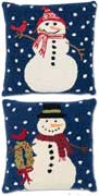Pair Holiday Snowmen Christmas Pillows