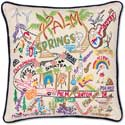 """Palm Springs Handmade Embroidered Pillow<br><font color=""""red""""><font size=""""2""""><b>One Available</b></font></font>"""