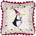 "Embroidered Penguin Present Christmas Pillow<br><font color=""red""><font size=""2""><b>Limited Edition</b></font></font>"