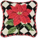 Poinsettia Decorative Needlepoint Holiday Pillow