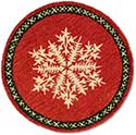 Round Red Snowflake Holiday Rug