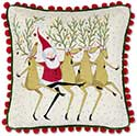 Santa Reindeer Velvet Throw Pillow