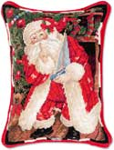 Santa Secret Needlepoint Pillow