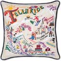 """Ski Telluride Handmade Embroidered Pillow<br><font color=""""red""""><font size=""""2""""><b>One Available</b></font></font>"""