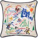 """Ski Utah Handmade Embroidered Pillow<br><font color=""""red""""><font size=""""2""""><b>One Available</b></font></font>"""