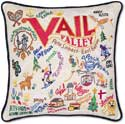 Ski Vail Handmade Embroidered Pillow