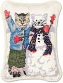 Snowman Cat Christmas Pillow