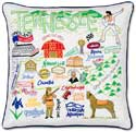 Handmade Embroidered Tennessee Geography Pillow
