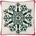 Traditional Snowflake Hooked Christmas Pillow