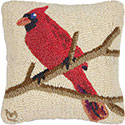 Winter Bird Cardinal Hooked Pillow