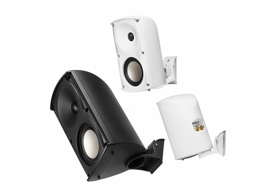 "AP490 4"" Outdoor HD Patio Speakers Pair Tilt & Swivel Bracket Black White Color"
