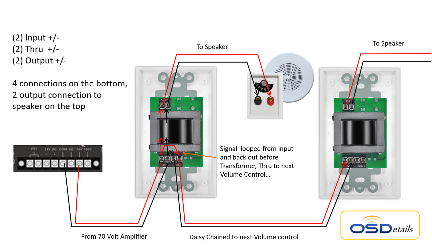 commercial 70v in-wall rotary style high power 100 watts ... volume control to a speaker diagram