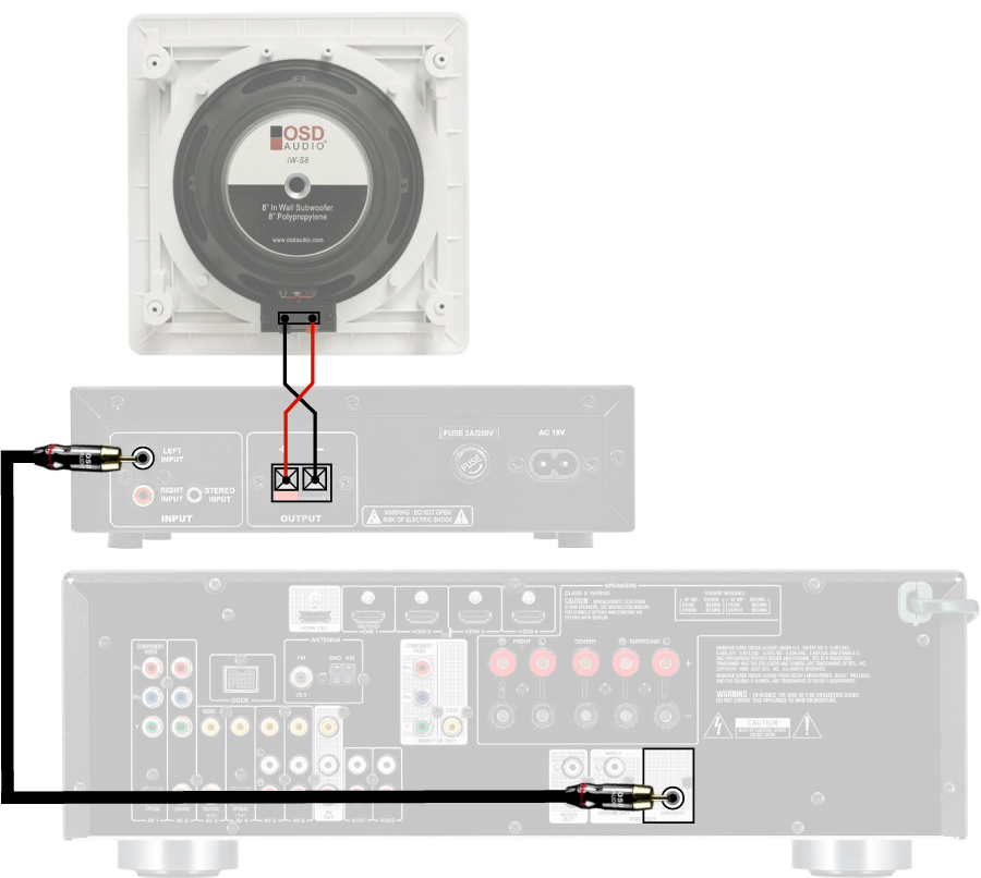 home theater in wall subwoofer osd audio iws8