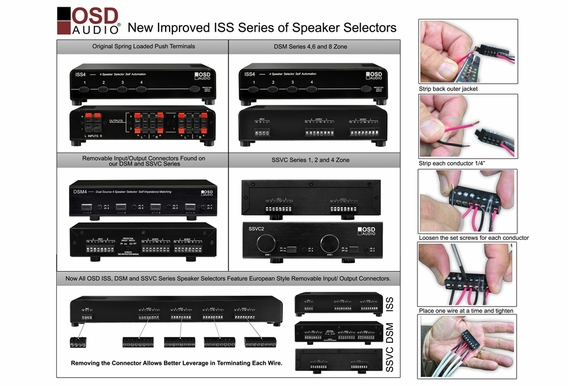 ISS4 4x Pair High Power Speaker Selector with Speaker Impedance Protection European Easy Connect Style