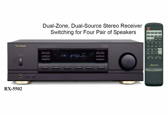 RX-5502 Dual Source 4 Pair Speakers Stereo Receiver