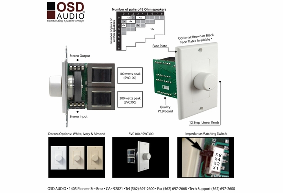 Rotary Style Heavy Duty 300 Watts peak Impedance Matching Volume Control; Kit includes White, Bone and Ivory color matched Decora® Inserts, Outer Plates and Knobs